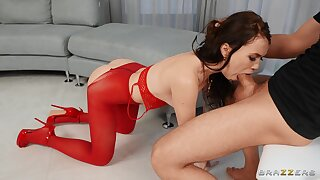 Teen in red lingerie, throated and hard fucked in crazy XXX