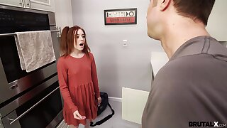 Small special redhead Madi Collins drops on her knees to give a BJ before sex