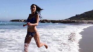 Ukrainian Sofi Ka stripping on the seashore