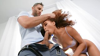 Curly-haired black minx facialized after quickie with neighbor