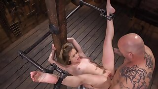 Master stuffs the pink cunny and uses the vibrator on her clit