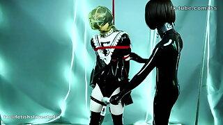 fx-tube com Latex lesbian cute maid bondage play decoration 2