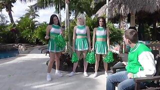 Three naughty cheerleaders lure friend into reflex foursome
