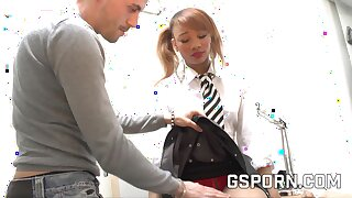 French ebony teen job interview