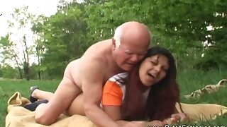 Old Man Fucks Dutch Teen Outdoors To Relax And Arouse