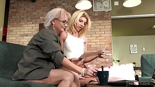 Aging lesbian Elvira is betrothed beautiful young body of 19 yo model Missy Luv