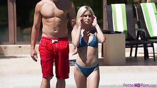 Seductive mart bikini girl Kiara Cole fucks doggy in the pool with her stud
